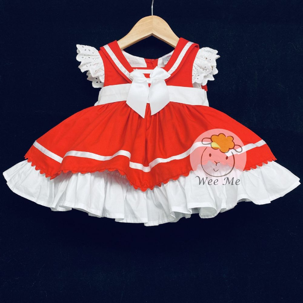 New Arrival Baby Girl Spanish Red Sailor Style Puff Ball Dress